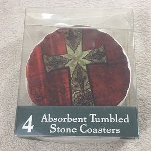 4 Cross Designs Absorbent Tumbled Stone Coasters